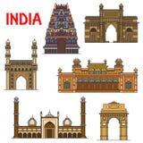 Indian travel landmarks thin line icon. Travel landmarks of indian architecture icon with thin line India Gate, hindu Meenakshi Amman Temple, Gateway of India Royalty Free Stock Photo
