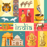 Indian travel template on vibrant background. I love India. Vector illustration in vintage style vector illustration