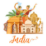 Indian travel template on white background. I love India. Vector illustration in vintage style vector illustration