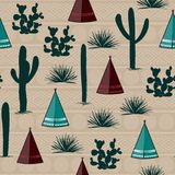 Indian tribal background. Simple flat wigwam, cactus, and grass. Seamless pattern landscape. Minimalist design. Cartoon illustrati. On Royalty Free Stock Image