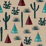 Indian tribal background. Simple flat wigwam, cactus, and grass. Seamless pattern landscape. Minimalist design. Cartoon illustrati. On Stock Image
