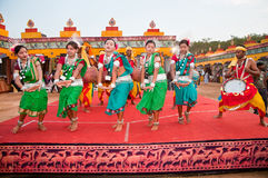 Indian tribal dance. BHUBANESWAR, INDIA - DECEMBER 20: Tribal folk dancers perform at the Toshali National Crafts fair on December 20, 2011 in Bhubaneswar Stock Photography