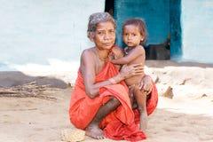 Indian tribal grandmother and grandson Stock Photos