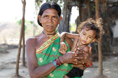 Indian tribal grandmother and grandson Stock Images
