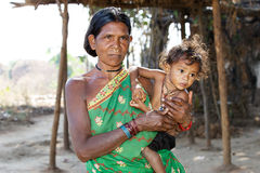 Indian tribal grandmother and grandson Stock Photo