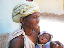 Indian tribal grandmother and grandson Royalty Free Stock Photo