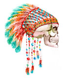 Indian tribal  hat and skull Stock Photos