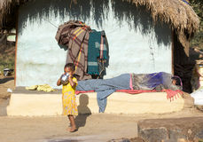 Indian tribal man and child Royalty Free Stock Photography