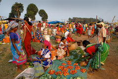 Indian Tribal Market Stock Photo