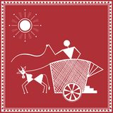 Indian tribal Painting. Warli Painting of a bullock Cart Stock Photo