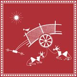 Indian tribal Painting. Warli Painting of a bullock Cart Royalty Free Stock Images
