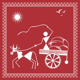 Indian tribal Painting. Warli Painting of a bullock Cart Stock Photography