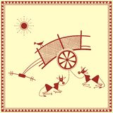 Indian tribal Painting. Warli Painting of a bullock Cart Royalty Free Stock Photo