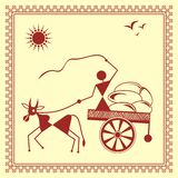 Indian tribal Painting. Warli Painting of a bullock Cart Stock Image