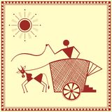 Indian tribal Painting. Warli Painting of a bullock Cart Royalty Free Stock Photography