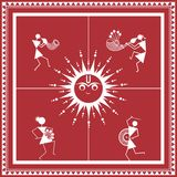 Indian tribal Painting. Warli Painting of a dance Stock Photography