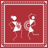 Indian tribal Painting. Warli Painting of a dance Stock Images