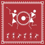 Indian tribal Painting. Warli Painting of a dance Stock Photo