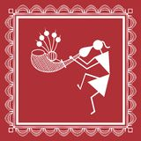 Indian tribal Painting. Warli Painting of a dance Royalty Free Stock Photography