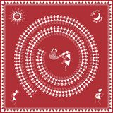 Indian tribal Painting. Warli Painting of a dance Royalty Free Stock Photo