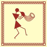 Indian tribal Painting. Warli Painting of a dance Stock Image