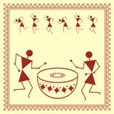 Indian tribal Painting. Warli Painting of a dance Stock Photos
