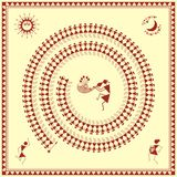 Indian tribal Painting. Warli Painting of a dance Royalty Free Stock Image