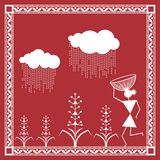 Indian tribal Painting. Warli Painting of a farm Royalty Free Stock Photos