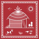 Indian tribal Painting. Warli Painting of a House Stock Photo