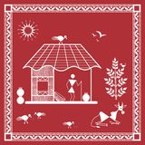 Indian tribal Painting. Warli Painting of a House Stock Image
