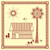 Indian tribal Painting. Warli Painting of a House Stock Photos