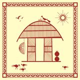 Indian tribal Painting. Warli Painting of a House Royalty Free Stock Photo