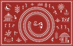 Indian tribal Painting. Warli Painting Royalty Free Stock Photography