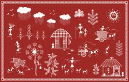 Indian tribal Painting. Warli Painting Royalty Free Stock Images