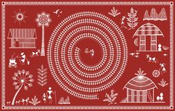 Indian tribal Painting. Warli Painting Royalty Free Stock Image