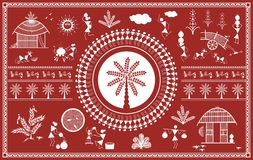 Indian tribal Painting. Warli Painting Royalty Free Stock Photo