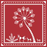 Indian tribal Painting. Warli Painting of a tree Royalty Free Stock Images