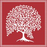 Indian tribal Painting. Warli Painting of a tree Stock Photo