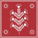 Indian tribal Painting. Warli Painting of a tree Royalty Free Stock Photo
