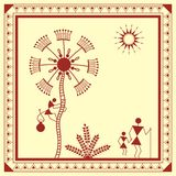 Indian tribal Painting. Warli Painting of a tree Stock Photos