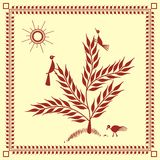 Indian tribal Painting. Warli Painting of a tree Royalty Free Stock Image