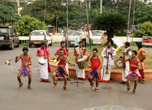 Indian Tribal people perform traditional dance Stock Images