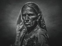 Indian tribal woman from Pushkar. With art filter stock image