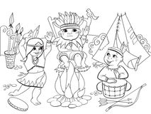 Indian tribe in the form of three children coloring vector for adults Royalty Free Stock Image