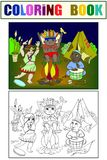 Indian tribe in the form of three children coloring vector for adults Stock Photos