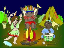 Indian tribe in the form of three children vector for adults Royalty Free Stock Image
