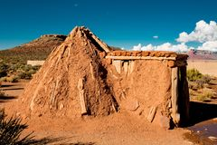 Indian Tribe Hualapai Sweat Lodge In Arizona Desert. By the grand canyon stock photography