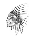 Indian Tribe Leader. American indian tribe leader. Head of clan in traditional feathered war bonnet . Engraving style. Monochrome  on white Royalty Free Stock Photography