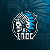 Indian tribe skull vector mascot logo design with modern illustration concept style for badge, emblem and tshirt printing. skull vector illustration