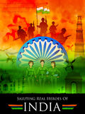 Indian tricolor background saluting real heroes of India showing armed force and women pilot Royalty Free Stock Image